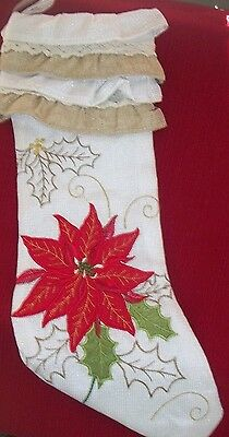 CHRISTMAS Tapestry Red Poinsettia, Gold Holly & Trim Ruffled Cuff Stocking 19""