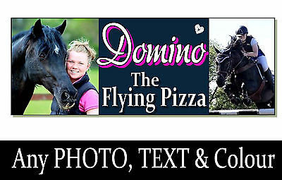 2 double PHOTO HORSE PONY name personalised Sign Plaque Stable door tack room