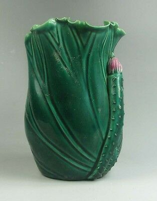 "Old Chinese green porcelain lotus leaf flower figure pen container 5.1"" H V1430"