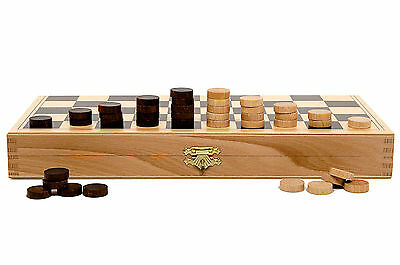 "Superb 13"" Draughts / Checkers Set in The Folding Wooden Case 32cm - 100 fields!"