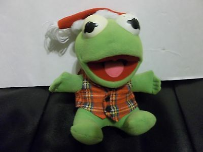 1987 Baby Kermit The Frog Plush Christmas and plaid shirt Stuffed doll