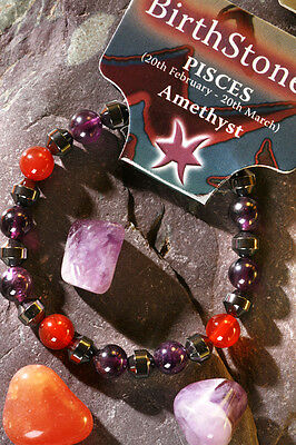 PISCES-Lucky Birthstone & Talisman 'Power Bracelet' plus free book & Bookmark
