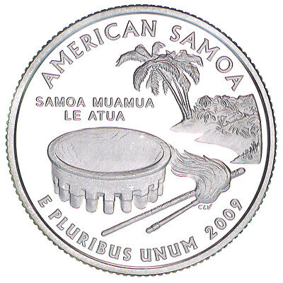2009 S Territories Quarter American Samoa Gem Proof Deep Cameo 90% Silver Coin