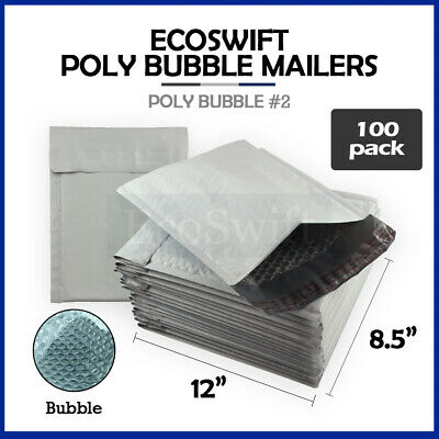 100 #2 8.5x12 Poly Bubble Mailers Padded Envelope Shipping Supply Bags 8.5 x 12