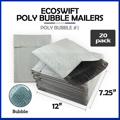 20 #1 7.25x12 Poly Bubble Mailers Padded Envelope Shipping Supply Bags 7.25 x 12