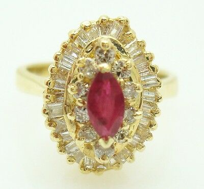 14K Gold Marquise Genuine Natural Ruby Ring with 1/2ct Diamonds (#J2748)
