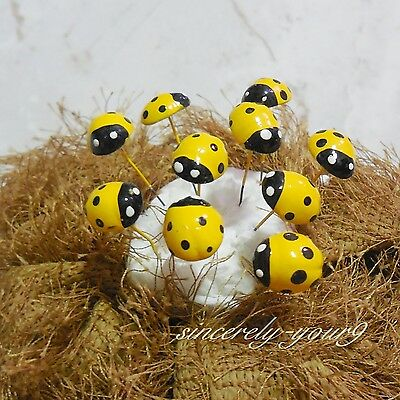Miniature Dollhouse Fairy Garden Accessories Yellow Ladybug Clay Decor 5 pcs
