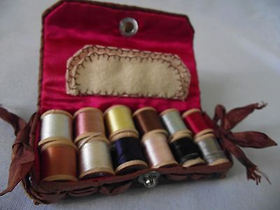 Antique Shaker Leather Covered Sewing Kit   silk lined- silk thread- travel kit