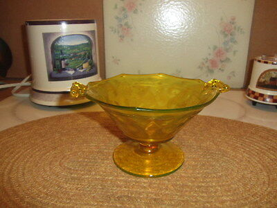 yellow depression glass ware double handles compote