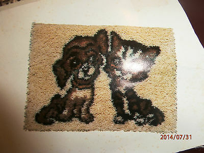 """Vintage Malina Dog and Cat Latch Hook Rug Kit  20"""" x 27"""" Partially Completed"""