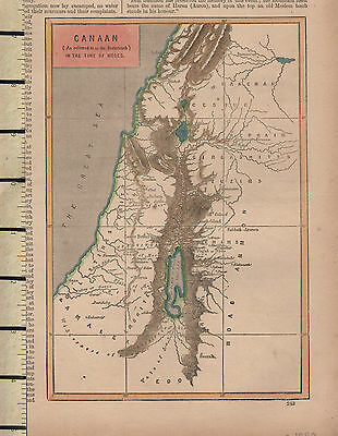 c1890 VICTORIAN MAP ~ CANAAN IN THE TIME OF MOSES PHILISTINES