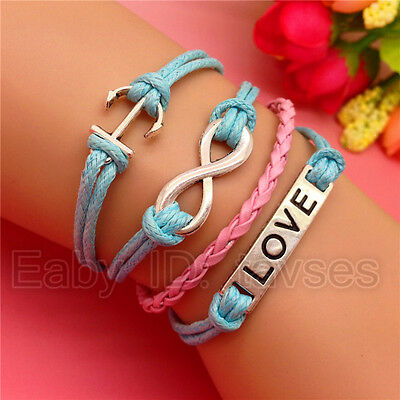 Fashion Hot NEW charm Infinity Anchor LOVE Leather Cute Bracelet Blue Pink S159