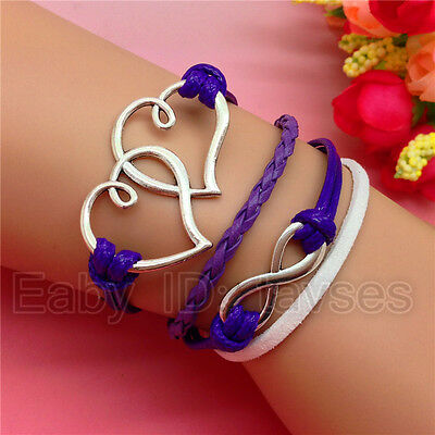 NEW charm Fashion Infinity Double Hearts Leather Cute Bracelet Silver White S160