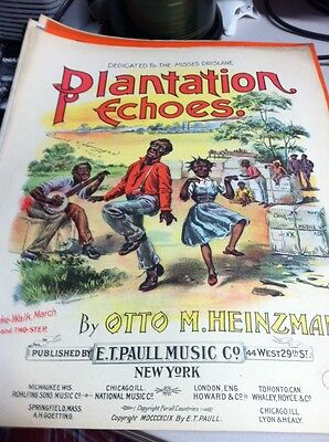 Black Americana Sheet Music Plantation Echoes- Otto M. Heinzman Paul Music Co.