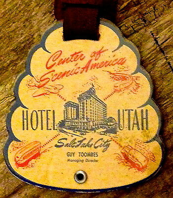 HOTEL UTAH luggage tag - celluloid leather NOS beehive shaped