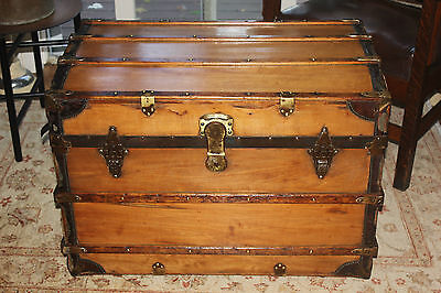 Antique Refinished Slightly Curved top trunk - Ca. 1880's