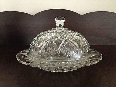 Vintage Pressed Glass Butter Dish and Cover Lid 5 inch diameter