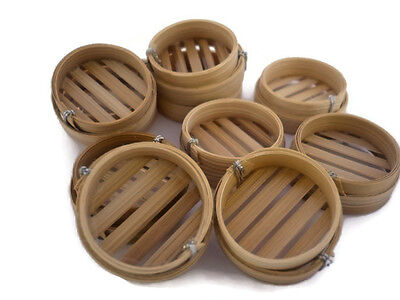 10 Pcs. Dollhouse Miniatures  Dim Sum Bamboo Baskets  Deco Chinese Food  2.50cm
