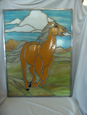 Vintage Stained Glass Window Panel Gold Stallion 31.25 x 20.75 NICE