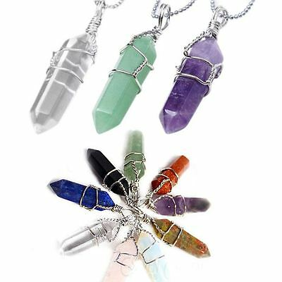 Natural Quartz Crystal Healing Chakra Cut WIRED Gemstone Pendant For Necklace01-