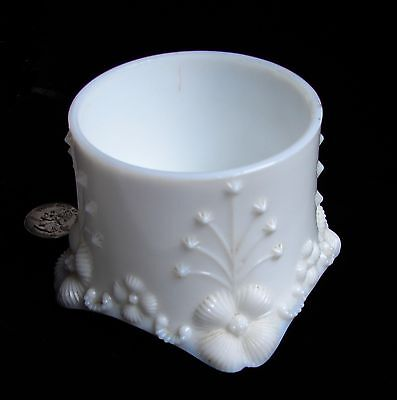 Vintage Fostoria Milk Glass POWDER BOX / VANITY JAR, Fancy Raised Flower Design