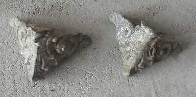 Lot of 2 Vintage Small Metal Fancy Furniture Trim Pieces LOOK