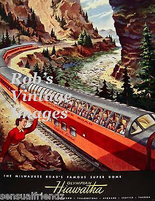 Milwaukee Road Olympian Hiawatha Poster 1953 CMSP Train Railroad