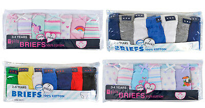Kids Girls Boys 7 Pairs Pack 100% Cotton Briefs Knickers Pants Underwear Size