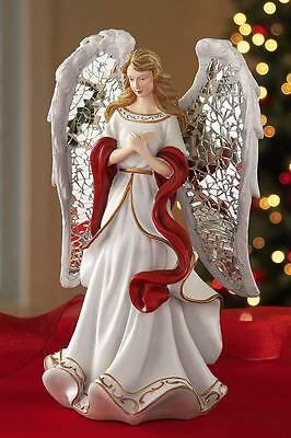 Lovely Christmas Angel with Mosiac Mirrored Wings Figurine New