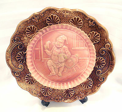 Antique Majolica Plate 1870's Man Drinking Holding Pitcher Scene Arsenal Pottery