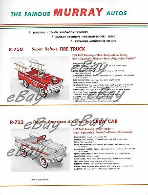 VINTAGE PRINT  AD 8 X 11 MURRAY PEDAL CARS FOR 1959 CREW CAR & FIRE TRUCK