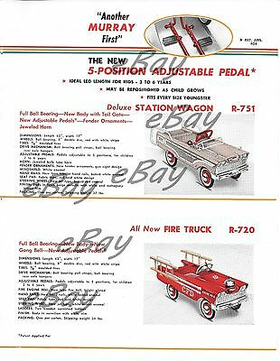 VINTAGE PRINT  AD 8 X 11 MURRAY PEDAL CARS FOR 1959  STATION WAGON & FIRE TRUCK