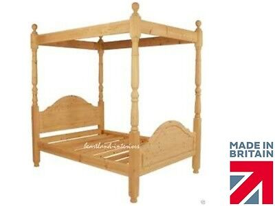 "4ft 6"" Waxed~Painted Solid Pine Four Poster Bed frame, Double~ King ~Super King"