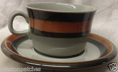 Rorstrand Sweden Annika Cup & Saucer Brown & Orange Trim Scandinavian Pottery