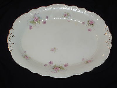 "GRINDLEY ORION LARGE 16"" OVAL PLATTER PINK FLOWERS SCALLOP EMBOSSED BEADED EDGE"