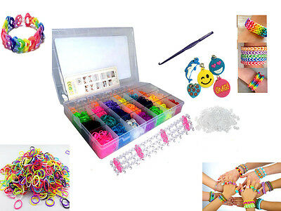 4200 Rubber Loom Bands Set Rainbow Colourful Bracelet Making Kit With S-Clips