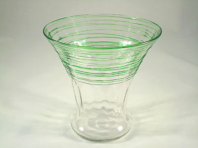 Early Steuben Crystal Glass Pomona Green Threaded Optic Vase