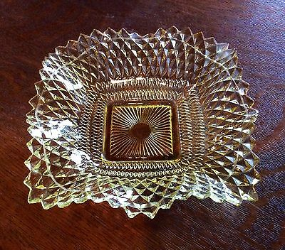 Vintage Rare Yellow  or Gold Depression Glass Candy Dish Bowl or Basket