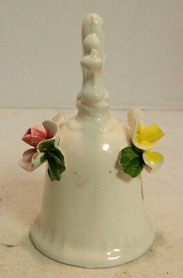 "Vintage Nuova Capodimonte Floral Bell with Tags 4.5"" x 2.5"" Very Good Condition"
