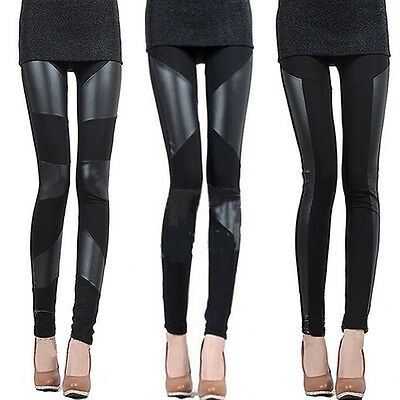 Sexy Fashion Women Stitching Stretchy Faux Leather Black Tights Leggings Pants