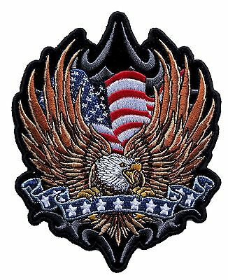 Large American Flag Eagle with stars on ribbon Embroidered Biker Patch FREE SHIP