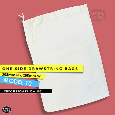 NEW Drawstring CALICO BAGS natural cotton pouch BULK Model 10: H 305mm x W 205mm