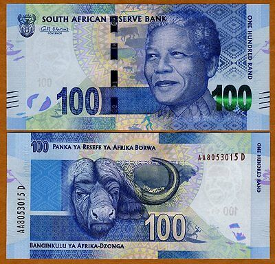 South Africa, 100 rand, ND (2012), Pick 136, UNC > Mandela, Buffalo