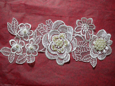"""7"""" Embroidered Flower Pearl Bead Applique - Light IVORY"""