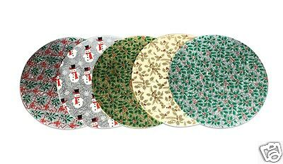 """10"""" Round Patterned Christmas Cake Boards - Holly Snowmen Ribbon"""