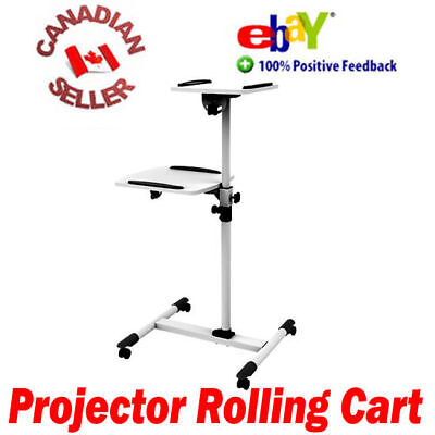 Rolling projector & laptop mobile trolley cart height adjustable on wheels white