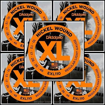 5 Sets D'Addario EXL110 Nickel Wound Light Gauge Electric Guitar Strings 10 - 46
