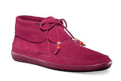 VANS AUTHENTIC MOHIKAN FLEECE RED PLUM SHOES WOMENS SZ 5 SURF SIDERS MOCCASINS
