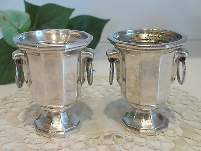 VINTAGE PAIR SHEFFIELD SILVER PLATE MINIATURE ICE BUCKETS W PLASTIC LINERS ITALY