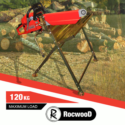 Log Saw Horse Log Holder Folding Metal With Pivoting Chainsaw Clamp